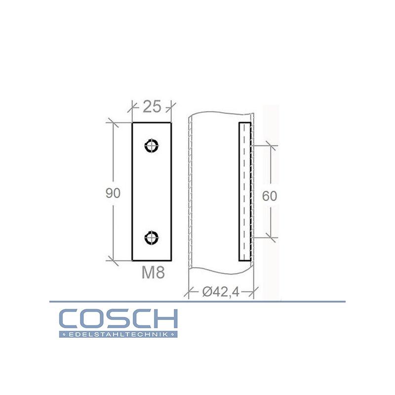 edelstahl v2a geschliffen anschraubplatte 42 4mm m8 gewinde 9. Black Bedroom Furniture Sets. Home Design Ideas
