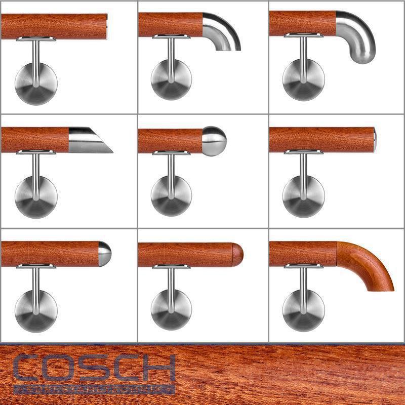 Holzhandlauf Mahagoni Ø 42mm lackiert 3mm Fase Wandhandlauf Geländer Handlauf