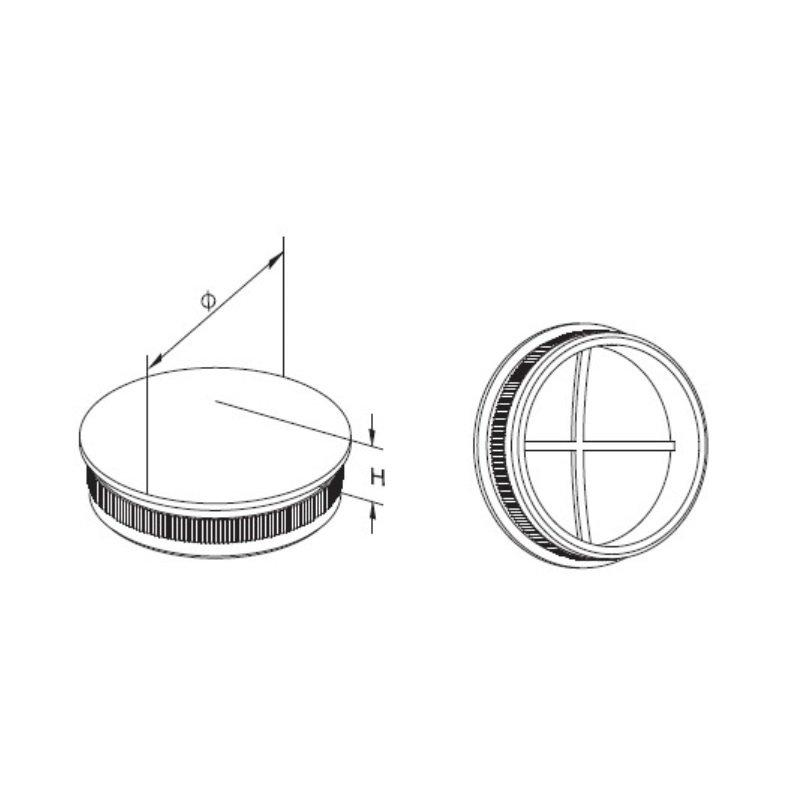 Edelstahl Endkappe V2A leicht gewölbt Deckel Rändelkappe Einschlagdeckel hohl