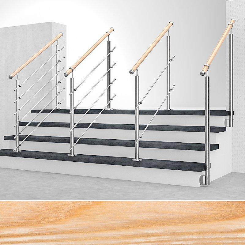 Edelstahl Geländer Treppengeländer Absturzsicherung Wandanschluss alle Längen
