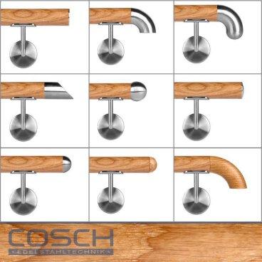 Eiche 200cm 3 Edelstahl-Halter verschiedene L/ängen Handlauf Eiche /Ø42mm mit Edelstahlhalter und leicht gew/ölbter Edelstahlendkappen