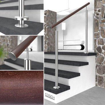 0,5 m - einteilig Buche Holz Handlauf V2A Fertighandlauf Gel/änder Treppe Griff /Ø42,4x2 mit sichtbarer Verschraubung